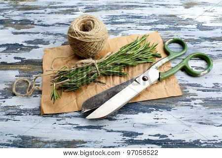 Rosemary sprigs with rope and scissors on parchment on wooden background