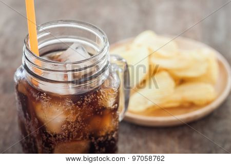 Iced Cola With Potato Chips
