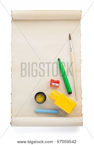 paint supplies and paper isolated on white background