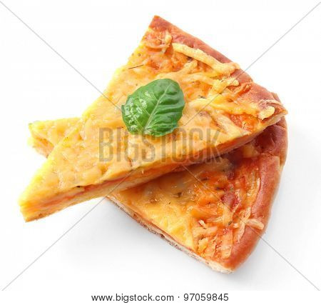Slices of tasty cheese pizza with basil isolated on white