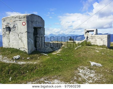 Abandoned military bunker in mountains