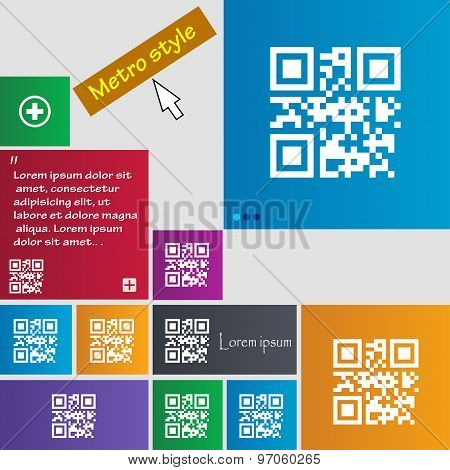 Qr Code Icon Sign. Buttons. Modern Interface Website Buttons With Cursor Pointer. Vector
