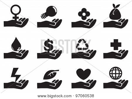 Hand With Conceptual Symbols Vector Icon Set