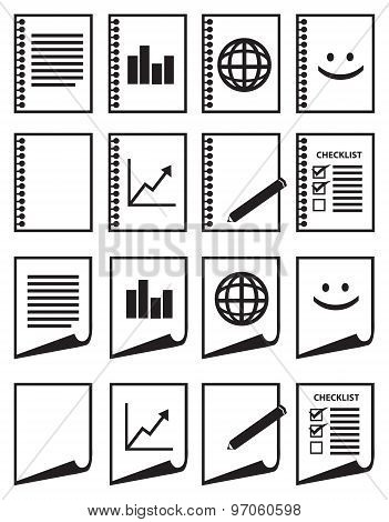 Minimalist Paper Vector Icon Set In Black And White