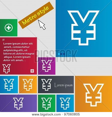 Yen Jpy Icon Sign. Buttons. Modern Interface Website Buttons With Cursor Pointer. Vector