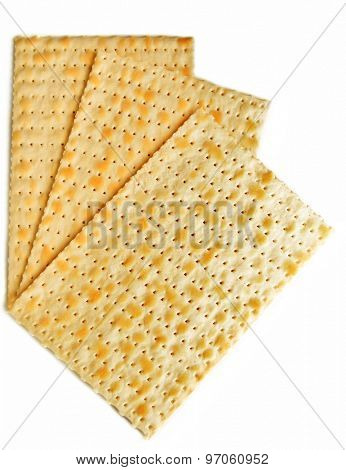 Matzo for Passover isolated on white