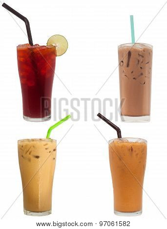 Lemon Tea, Chocolate Milk, Ice Coffee, And Ice Milk Tea