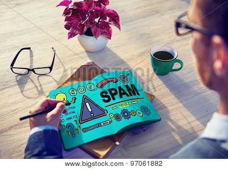 Spam Problem Virus Online Malware Hacking Concept