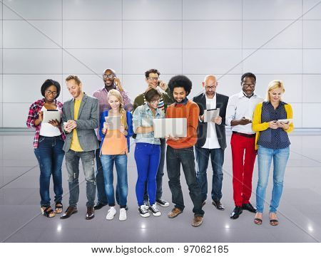 Group Of People Using Digital Device Technology Concept