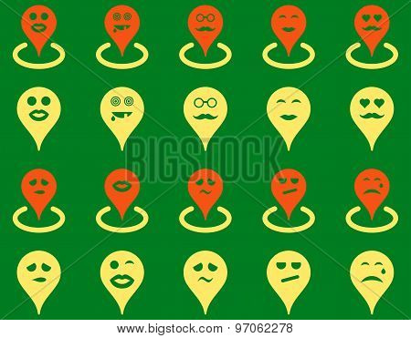 Smiled map marker icons
