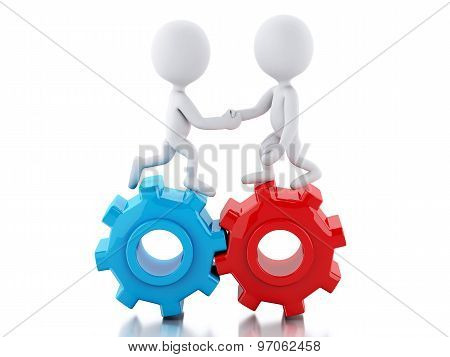 3D White Business People Standing On The Gear And Make A Handshake.