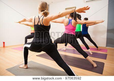 Warrior Pose In Yoga Class