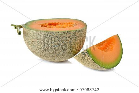 Half Cut Melon With Stem On White Background