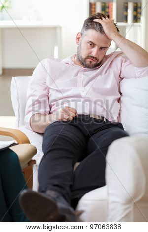 Unhappy Male With Mental Problem