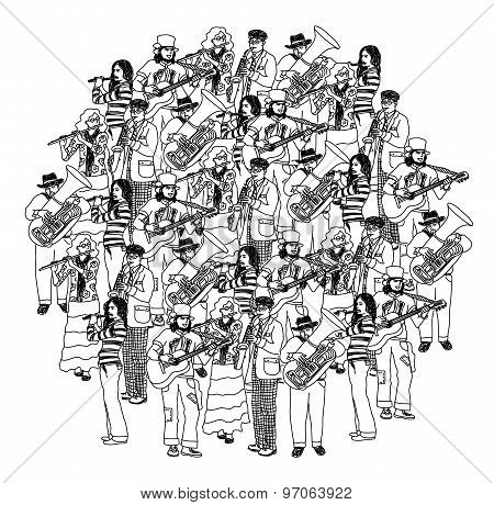 Big group musicians band orchestra monochrome
