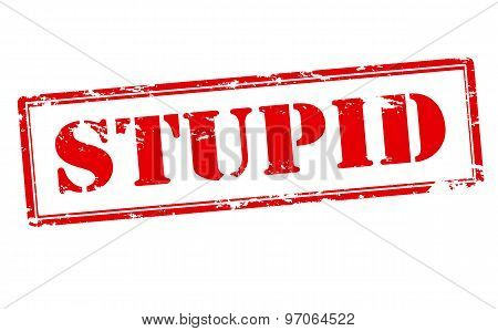 Rubber stamp with word stupid inside vector illustration