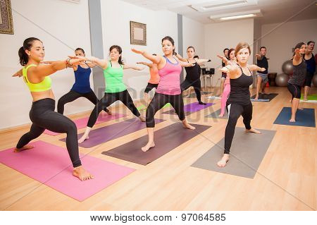 Yoga Instructor During Class