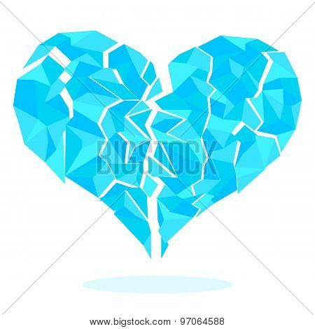 Icy-heart-split-fragments-isolated-on-white-background