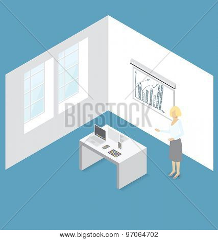 Gadget concept. Vector 3d flat isometric woman, cell phone, laptop and touch pad on presentation