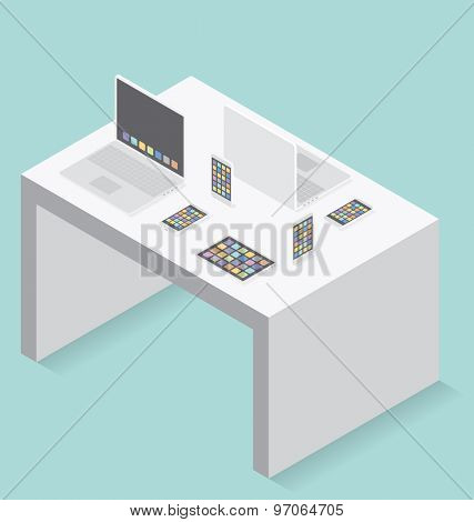 Gadget concept. Vector 3d flat isometric cell phone, laptop and touch pad