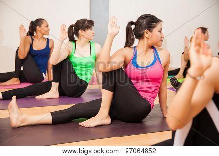 Hispanic Women In A Yoga Class