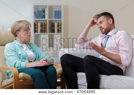 Man On Cosultation With Psychologist