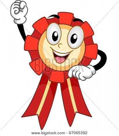 Mascot Illustration of a Ribbon Clenching its Fist in Victory