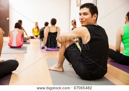 Attractive Man In Yoga Class