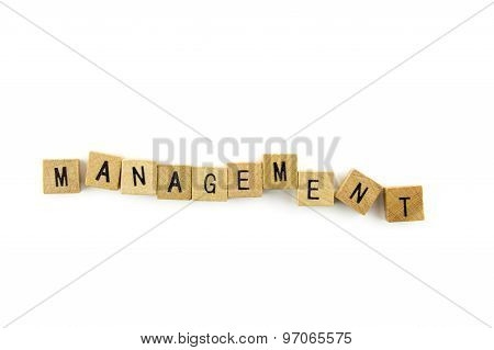 Management Text On Wooden Cubes, Isolated On White Background