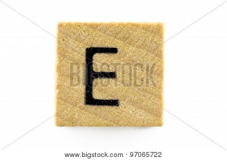 Wooden Alphabet Blocks With Letters E