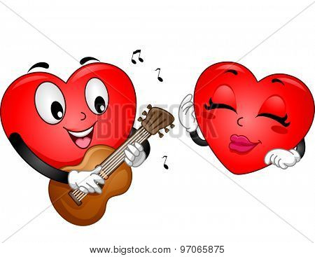 Background Illustration of a Heart Mascot Serenading A Female Heart Mascot