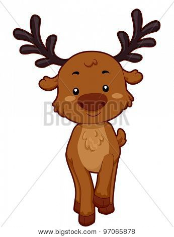 Cutesy Illustration of a Reindeer Smiling While Raising its Paw