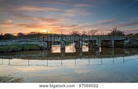 An Old Clapper Bridge On Bodmin Moor