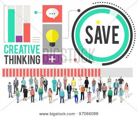 Diverse People Creative Thinking Save Concept