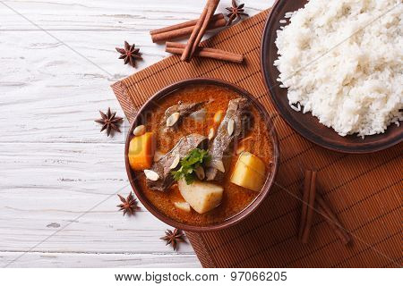 Thai Beef Massaman Curry And Rice Side Dish. Horizontal Top View