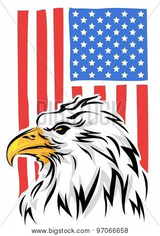 Illustration of a Bald Eagle with the USA Flag in the Background