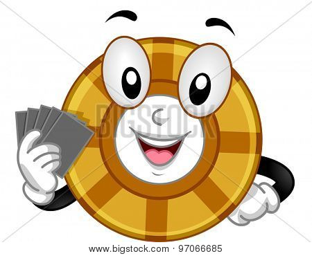 Mascot Illustration of a Gambling Chip Holding a Set of Cards