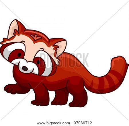 Illustration of a Cute and Fluffy Red Panda
