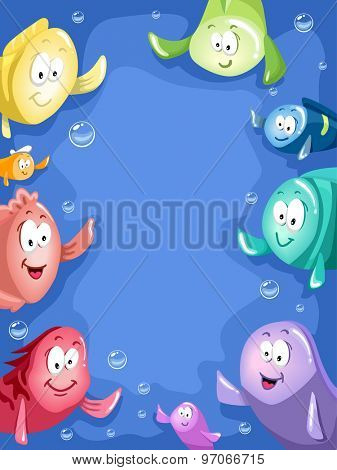 Frame Illustration of Colorful Fishes Waving Their Fins