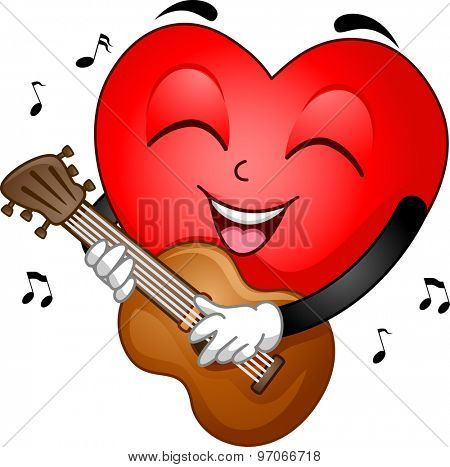 Illustration of a Heart Mascot Strumming the Guitar