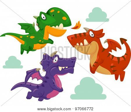 Illustration of Colorful Dragons Gathering Around
