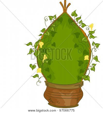Illustration of a Potted Plant Designed to Grow as a Teepee Vine