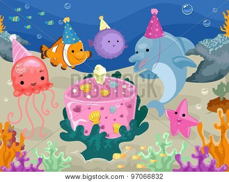 Colorful Illustration of Marine Animals Having a Birthday Celebration