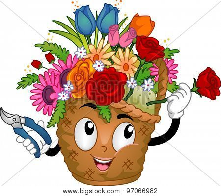 Illustration of a Flower Basket Mascot Arranging the Flowers on Her Head