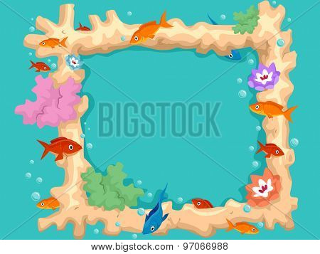 Colorful Illustration of Fishes Swarming Around a Coral Frame