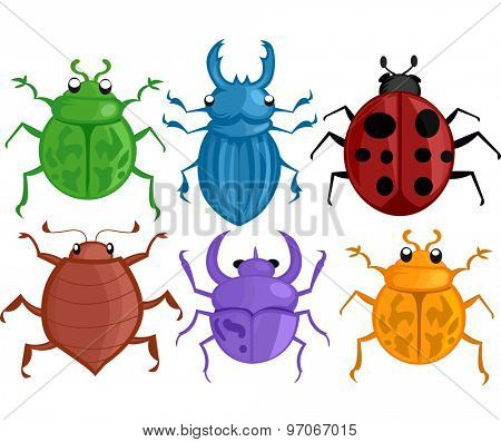 Colorful Illustration Featuring Different Species of Bugs