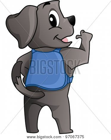Illustration of a Cute and Fluffy Little Dog Serving as a Guide