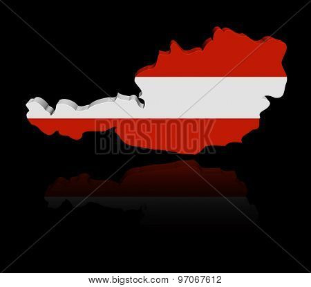 Austria map flag with reflection illustration