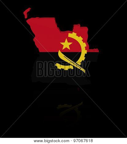 Angola map flag with reflection illustration
