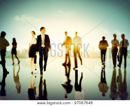 Business People Commuter Corporate Cityscape Pedestrian Concept